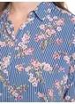 LC Waikiki Çizgili Çiçekli Gömlek Mavi